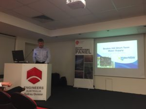Josh White presenting on the technical aspects of the short term Broken Hill Water Supply.